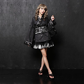 Long Sleeve Short Black and White Cotton Lace Ribbon Wa Lolita Kimono Coat(Size:XXL)