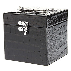 Elegant Black PU Leather Jewelry Storage Box