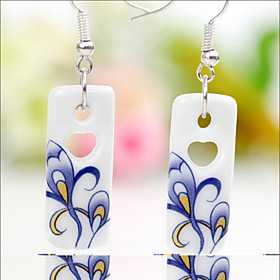 Ceramic Handmade Paste Flower Earrings(Pendant:1.1 2.7CM)