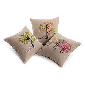 Set of 3 Modern Lucky Tree Decorative Pillow Cover