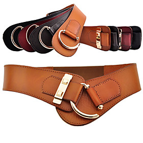 Women's Basic Simple Elastic Leather Waist Belt(Buckle:7CM,Width:5CM,Length:77CM)