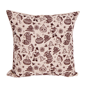 Christmas Pattern Cotton/Linen Decorative Pillow Cover