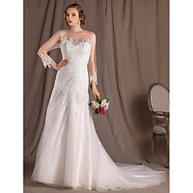 A-line Princess Bateau Chapel Train Lace And Satin Wedding Dress