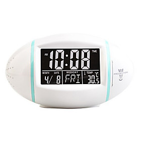 Rugby Shaped Time Projection and Talking Digital Alarm Clock Calendar Thermometer (3xAAA)