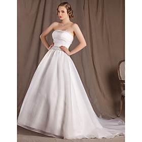 Ball Gown Strapless Court Train Lace Organza And Satin Wedding Dress
