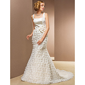 Sheath/Column Square Court Train Lace And Organza Wedding Dress