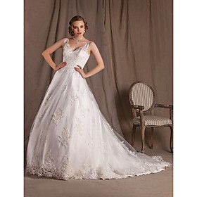Ball Gown V-neck Chapel Train Lace And Satin Wedding Dress