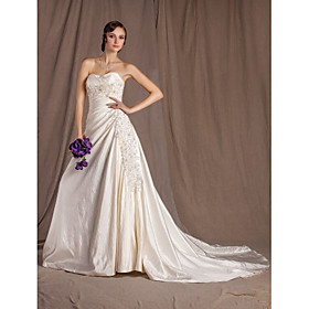 A-line Sweetheart Chapel Train Taffeta Wedding Dress