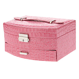 Elegant Pink PU Leather 2-Layers Jewelry Storage Box with Lock