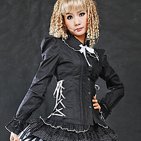 Long Puff Sleeve Black Cotton Royal Court Style Gothic Lolita Blouse