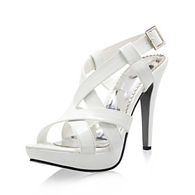 Leatherette High Heel Sandals With Criss-cross Straps And Buckle (More Colors)