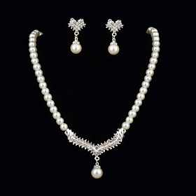 Stylish Pearls With Rhinestone Women's Jewelry Set Including Necklace,Earrings