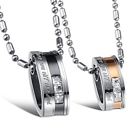 Stylish Stainless Steel With Rhinestone Lovers' Necklace