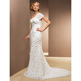 Sheath/Column One Shoulder Court Train Chiffon And Satin Wedding Dress