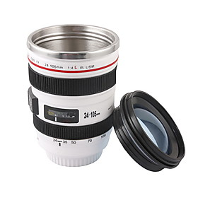 Novelty Simulation White Cannon EF 24-105mm F4 Filter Camera Lens Style Mug Cup