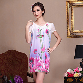 DIARY BEST 100%Mulberry Silk Round Collar Print Slim Dress