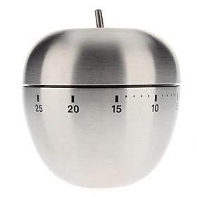 Apple Shaped Stainless Steel 60-Minute Kitchen Cooking Mechanical Timer