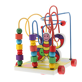 Pull String Butterfly Steel 3-Column Shape Geometric Counting Stacker Educational Toy