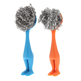 Kitchen Cleaning Shy Boy Shaped Pot Brush (Random Color)