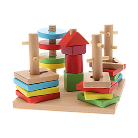 Wooden 5-Column Shape Geometric Counting Stacker Educational Toy