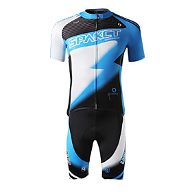 SPAKCT Polyester Spandex Short Sleeve Breathable/Moisture Permeability Men Cycling Jersey(Blue)