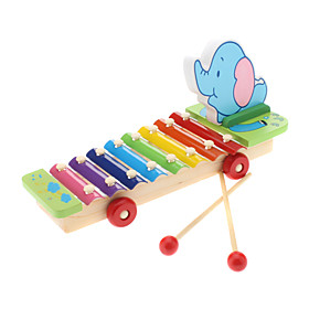 8-Notes Pull String Elephant Knocks Xylophone Educational Music Toy for Kids