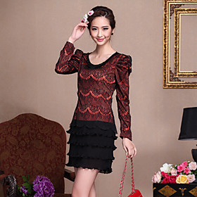 DIARY BEST Round Collar Bead Chain Decor Lace Slim Dress