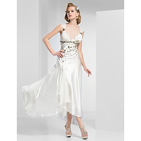 A-Line V-neck Ankle-Length Satin Evening Dress
