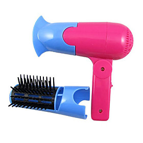 2 in 1 Mini Electric Travel Portable Folding Hair Dryer Blower with Brush