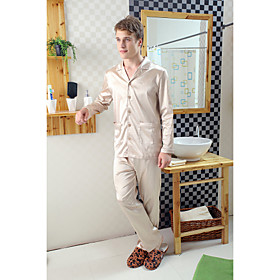 NAISOOK Men's Pure Color Silk Like Long Sleeve Pajamas Set