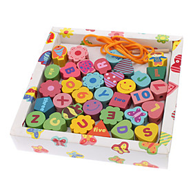 Wooden Letter Numeric Shape Geometric String Collect Educational Toy (33pcs)