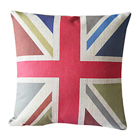 Flag Pattern Cotton/Linen Decorative Pillow Cover