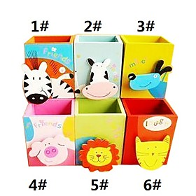 Cartoon Animal Design Wooden Pen Holder (Assorted Colors)