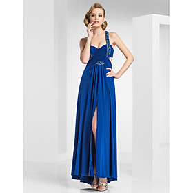 A-line Straps Ankle-length Knitwear Evening Dress