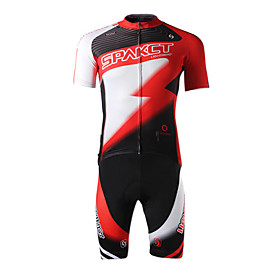 SPAKCT Polyester Spandex Short Sleeve Breathable/Moisture Permeability Men Cycling Jersey(Red)
