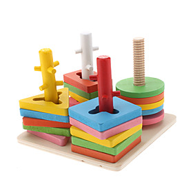 Wooden 4-Column Shape Geometric Counting Stacker Educational Toy