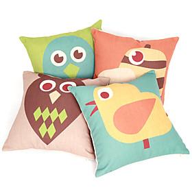 Set of 4 Cartoon Birds Cotton/Linen Decorative Pillow Cover