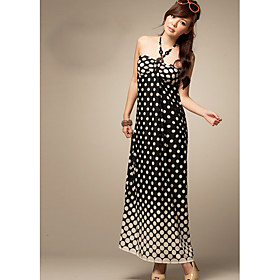Lker Black Polka Dot gradient Beach Dress