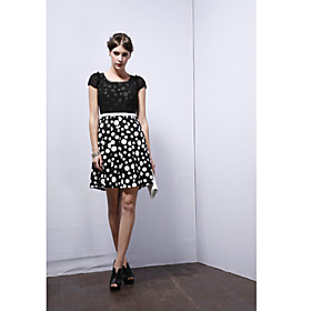 UMISKY Polka Dot Round Neck Puff Sleeve Dress
