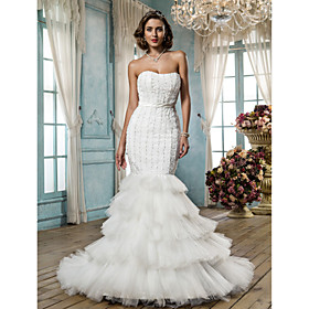 Trumpet/Mermaid Strapless Court Train Tulle And Satin Wedding Dress