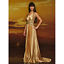 Empire Straps Chapel Train Taffeta Gold Prom / Evening Dress