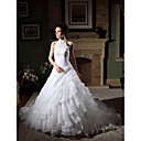 wholesale Ball Gown Halter Cathedral Train Organza Taffeta Tiered Wedding Dress (WSM0347)