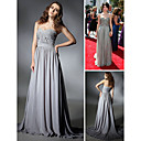 wholesale Selena Gomez Sheath/ Column Sweetheart Sweep/ Brush Train Chiffon Elastic Woven Satin Emmy/ Evening Dress (FSD0339)