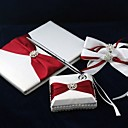 wholesale Pure Elegance Guestbook and Pen Set with Decorative Satin Bows