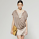 wholesale Front Cross Down Short Sleeves Round Neckline Dress / Women's Dresses (Beige) (FF-A-CB1200009)