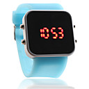 Silicone Band Women Men Unisex Jelly Sport Style Square Mirror LED Wrist Watch  Light Blue