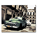Printed City and Car Canvas Art with Stretched Frame