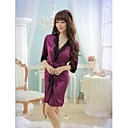 Sexy Purple Lace Satin Nightdress Coat