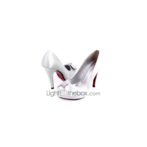 Satin Upper Stiletto Heel Pumps With Bowknot Wedding Party Shoes More