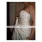 A-line Sweetheart Court Train Satin Wedding Dress with Slip Front